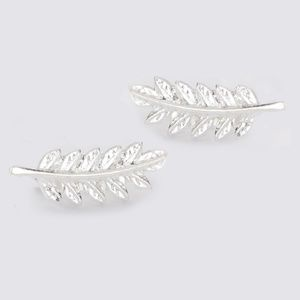 *KATHERINE* Silver Leaf Fashion Stud Earrings